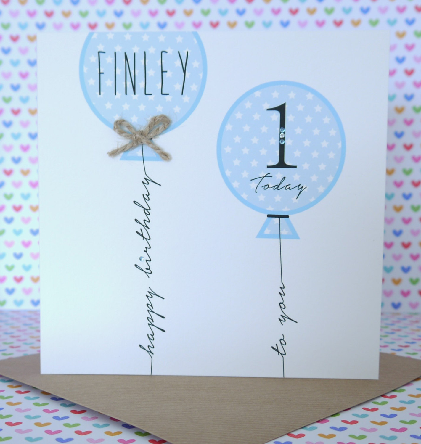 Beautiful Personalised Handmade Boy Birthday Card 1st,2nd