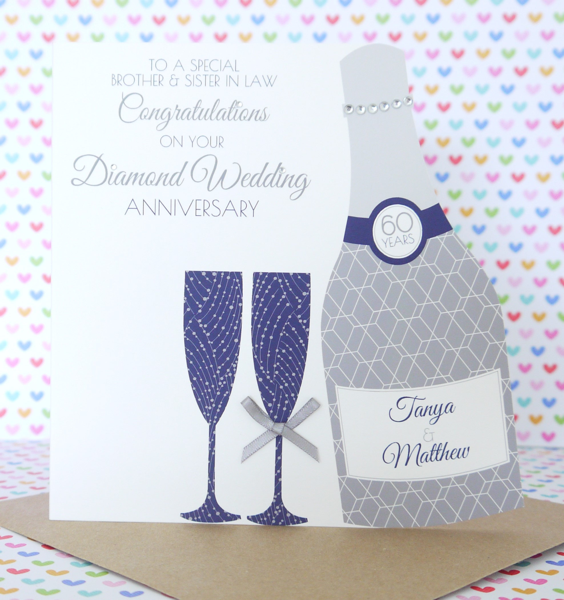 Personalised handmade ruby40th wedding anniversary card creative personalised handmade diamond60th wedding anniversary card kristyandbryce Choice Image