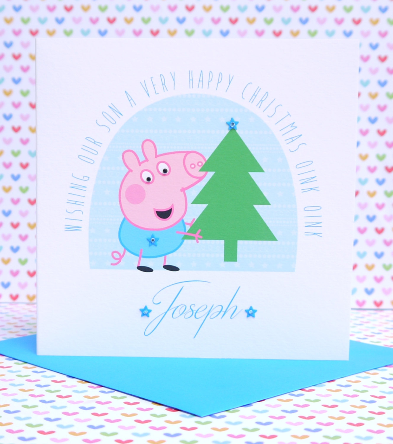 Personalised Handmade Peppa Pig George Christmas Card